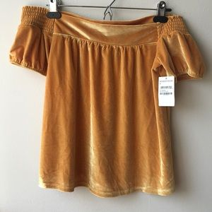 Marigold Yellow Off The Shoulder Top